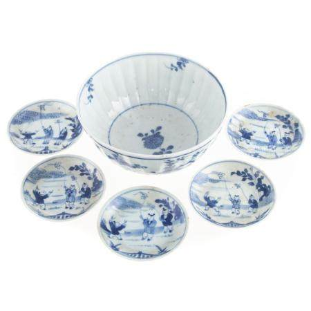 Five Chinese Export Blue/White Cup Plates & Bowl