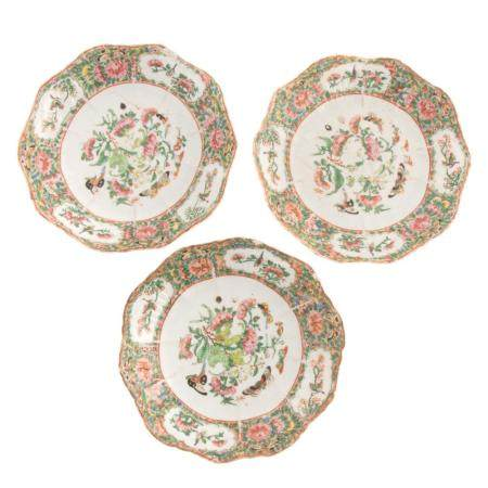 Three Chinese Export Rose Canton Plates