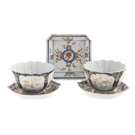 Two Japanese Arita Tea Bowls & Tea Pot Stands