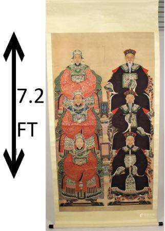 Large Antique Chinese Scroll Painting