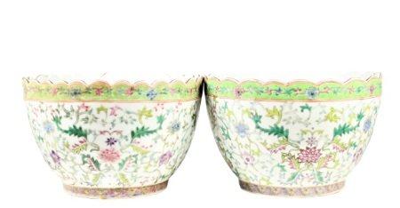 Pair of Chinese Porcelain Floral Motif Large Bowls