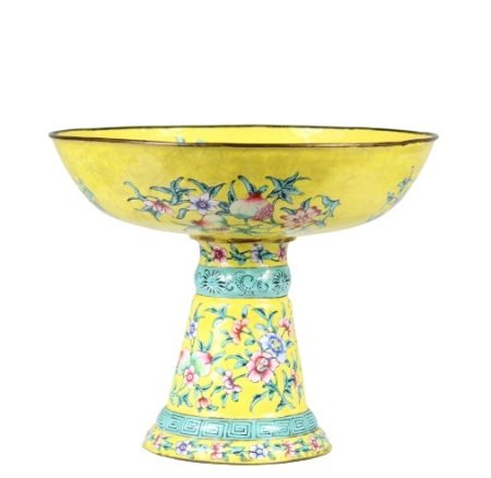 Chinese Enameled Metal Compote