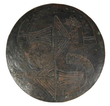 Incised Copper Shallow Dish