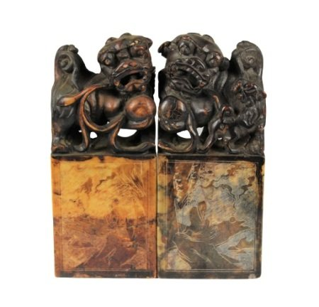 Pair of Chinese Foo Lion Carved Soapstone Chops