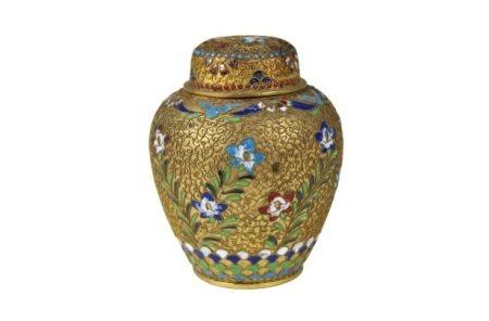 Chinese Gilt Enameled Covered Ginger Jar