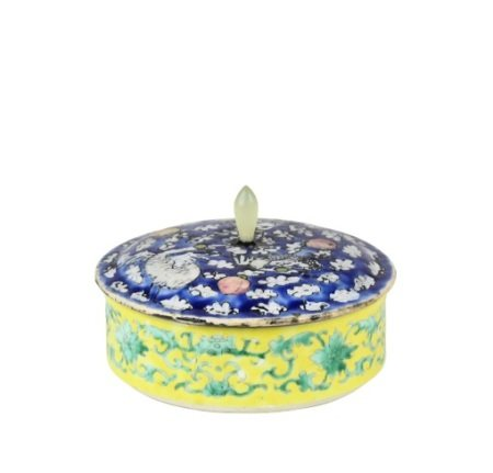 Chinese Porcelain Covered Box, Jade Finial