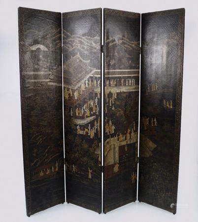 19TH-CENTURY CHINESE LACQUERED FOUR-FOLD SCREEN