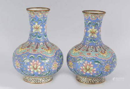 PAIR OF CHINESE POLYCHROME ENAMELLED VASES