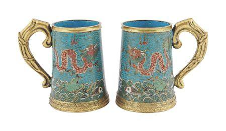PAIR OF CHINESE QING PERIOD CLOISONNÉ TANKARDS