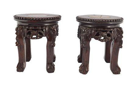 PAIR 19TH-CENTURY CHINESE HARDWOOD STANDS