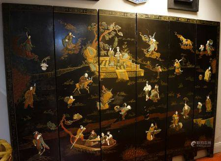 SIX FOLD CHINESE LACQUERED SCREEN