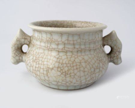 CHINESE QING PERIOD PORCELAIN TWIN-HANDLED CENSER