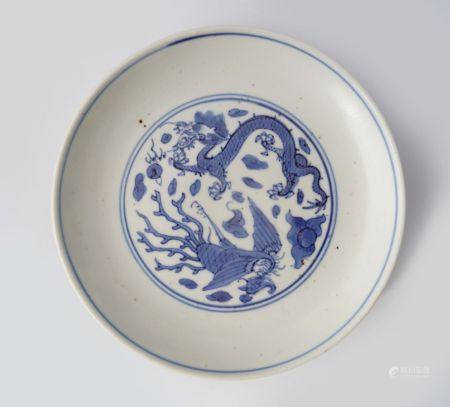CHINESE BLUE AND WHITE DRAGON AND PHOENIX SAUCER