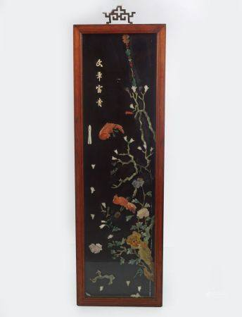 PAIR OF CHINESE HARDSTONE-DECORATED GLAZED AND LACQUERED PANELS