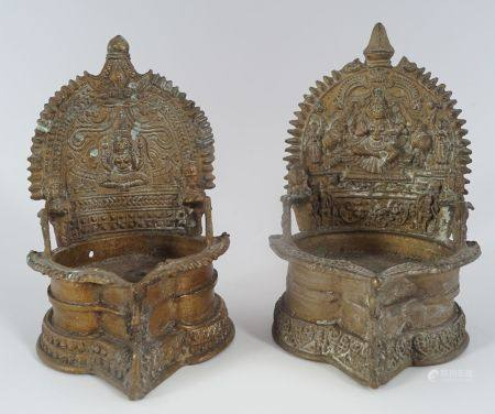PAIR OF QING SINO-TIBETAN BRONZE SHRINES
