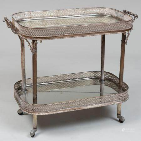English Silver Plate and Mirrored Drinks Cart