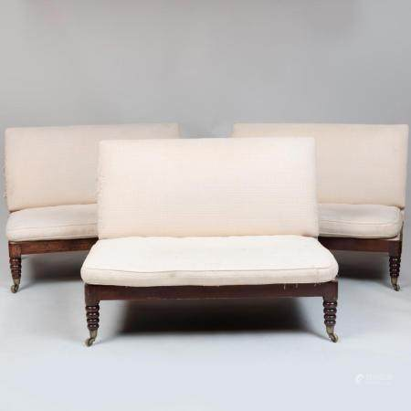 Three Edwardian Mahogany and Upholstered Settees