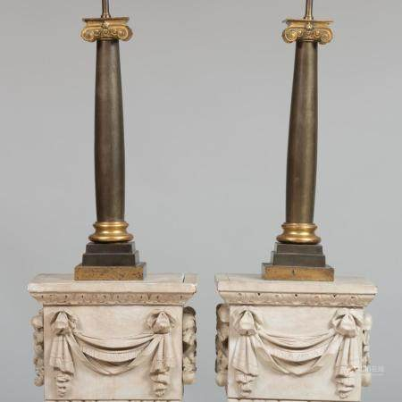 Pair of Gilt and Patinated Metal Columnar Lamps