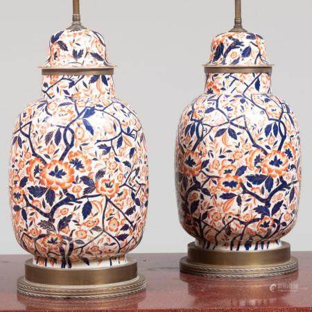 Pair of Imari Style Porcelain Jars and Covers Mounted as Lam