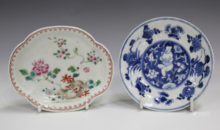 A Chinese famille rose export porcelain spoon tray, Qianlong period, of lobed oval form, painted