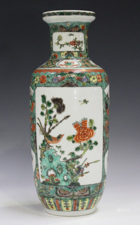 A Chinese famille verte porcelain rouleau vase, probably early 20th century, painted with opposing