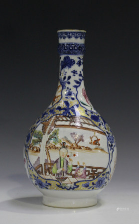 A Chinese famille rose export porcelain guglet, Qianlong period, painted with figural scenes below