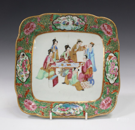 A Chinese Canton famille rose square porcelain dish, mid-19th century, painted with a central