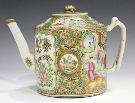 A Chinese Canton famille rose porcelain cylindrical teapot and cover, mid-19th century, painted with