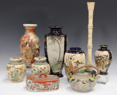 A Japanese Satsuma earthenware vase, Meiji period, painted with opposing panels of bijin and arhats,