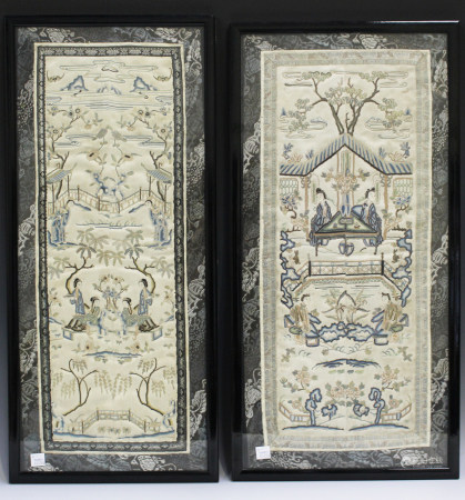 Two pairs of Chinese silk embroidered sleeve panels, early 20th century, each worked in coloured