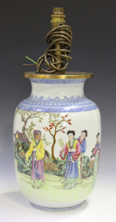 A Chinese famille rose porcelain vase, mark of Qianlong but probably Republic period, the swollen