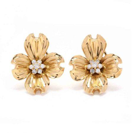 18KT Gold and Diamond Dogwood Earrings, Fisher & Co.