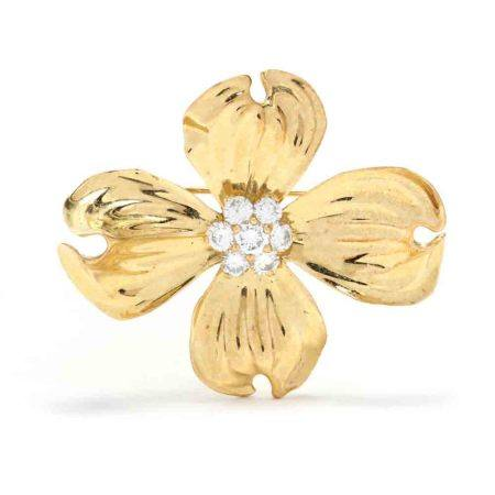18KT Gold and Diamond Dogwood Brooch, Fisher & Co.