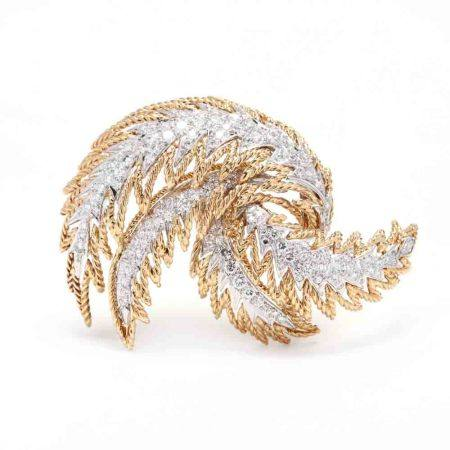 Bi-Color Gold and Diamond Brooch