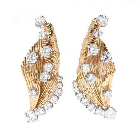 Gold and Diamond Earrings