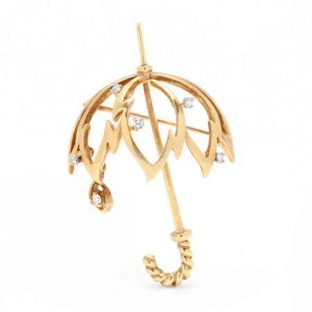 18KT Gold and Diamond Umbrella Motif Brooch, Kurt Wayne