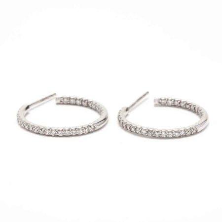 18KT White Gold Inside-Outside Diamond Hoop Earrings, Roberto Coin