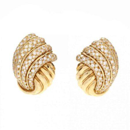 18KT Gold and Diamond Earrings, Henry Dunay