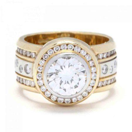 18KT Bi-Color Gold and Diamond Ring, Sam Lehr