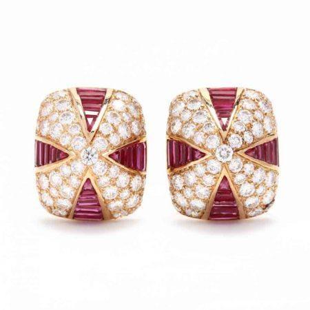 18KT Gold, Ruby, and Diamond Earrings, Oscar Heyman & Brothers
