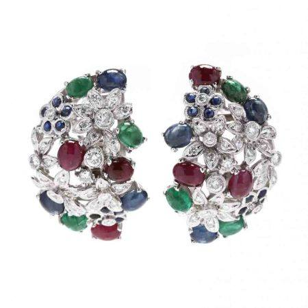 18KT White Gold, Diamond and Gem-Set Earrings