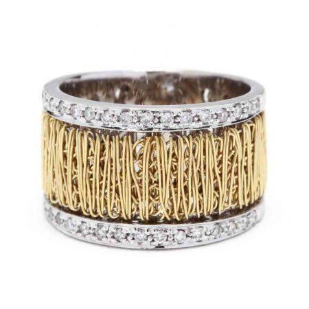 18KT Bi-Color Gold and Diamond Band