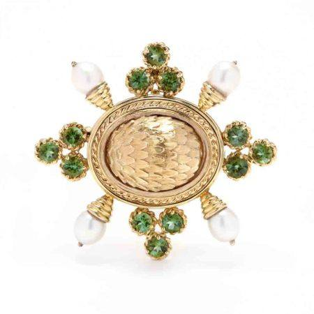 14KT Gold, Peridot, and Pearl Brooch / Pendant, MAZ