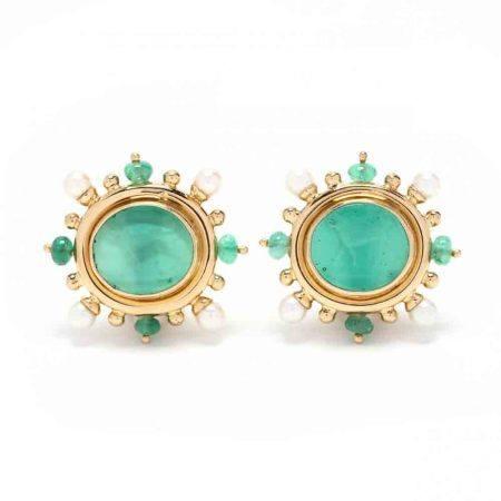 18KT Gold and Gem-Set Intaglio Earrings, Elizabeth Locke