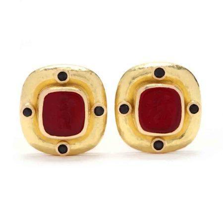 19KT Gold and Venetian Glass Earrings, Elizabeth Locke