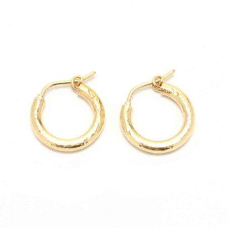 """19KT """"Baby Hoops"""" Earrings, Elizabeth Locke"""