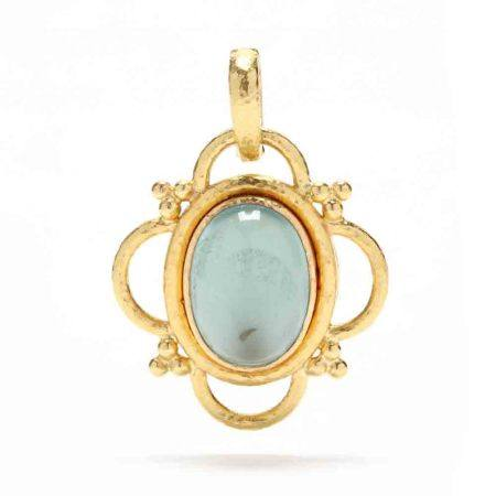 19KT Gold, Aquamarine, and Mother-of-Pearl Pendant, Elizabeth Locke