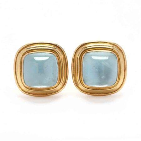 18KT Gold, Aquamarine, and Mother-of-Pearl Earrings, Elizabeth Locke