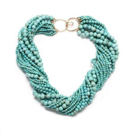 Gold and Turquoise Torsade Necklace