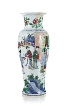 Vase en porcelaine wucai, Chine, époque Transition (1618-1683), décor de femmes [...]